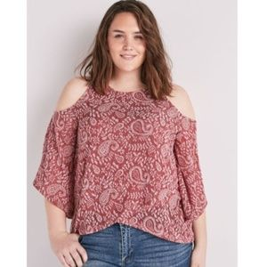 LUCKY BRAND Paisley Cold Shoulder Top NEW